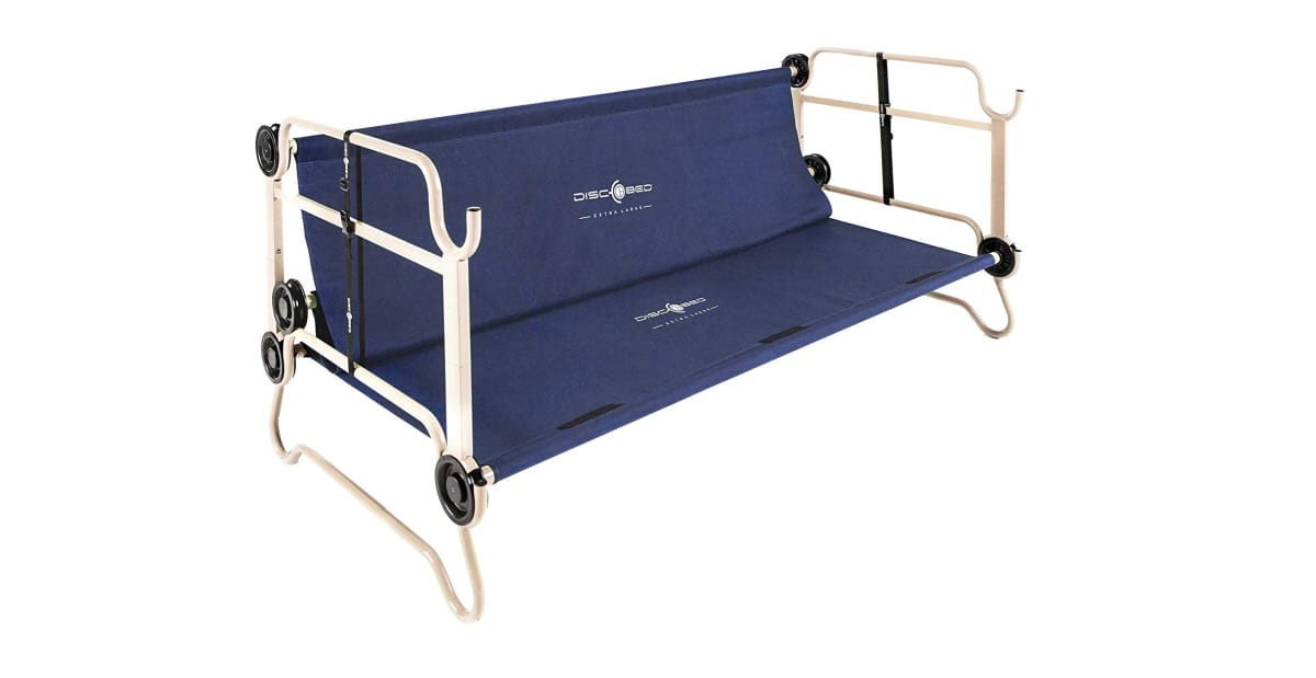 Disc-O-Bed XL Cam-O-Bunk Benchable Bunked Double Cot with Organizers | Cool Camping Must-Haves To Survive A Weekend Outdoors