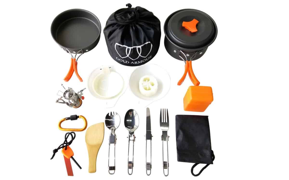Gold Armour 17Pcs Camping Cookware Mess Kit Backpacking Gear | Outdoor Survival Gear And Gadgets on Amazon Under $100
