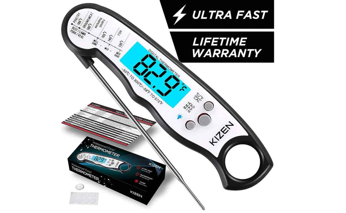 Kizen Instant Read Meat Thermometer | Top Digital Meat Thermometers For Grilling The Perfect Steak | bluetooth meat thermometer