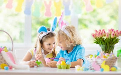 Kids with Easter basket